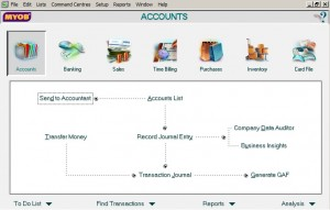 MYOB Accounts window