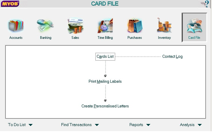 MYOB Card File Screen