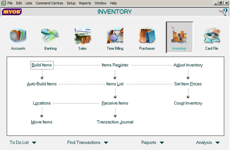MYOB Inventory Screen