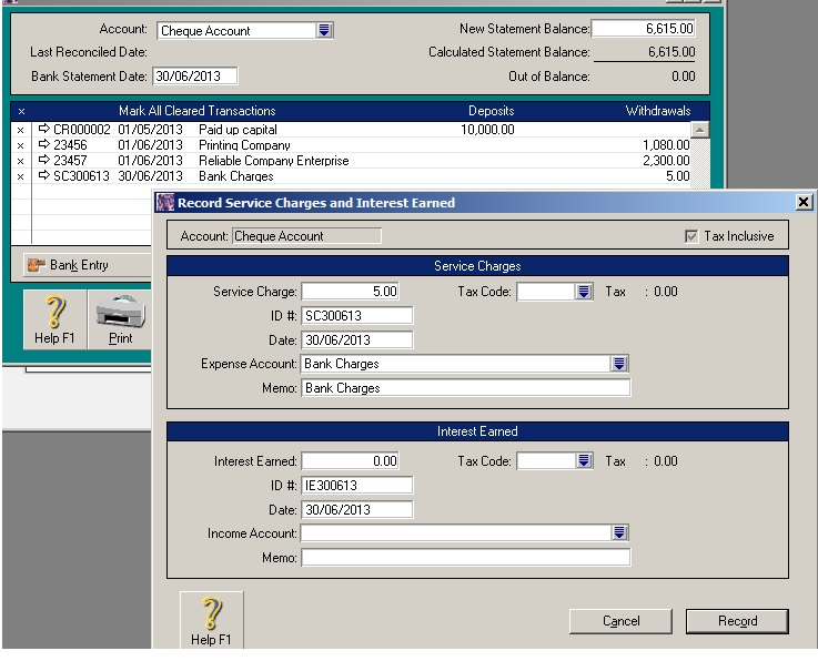 MYOB Bank Reconciliation