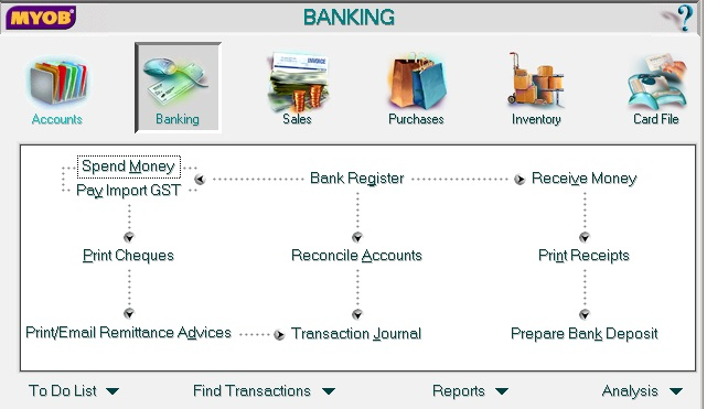 MYOB Accounting Banking screen