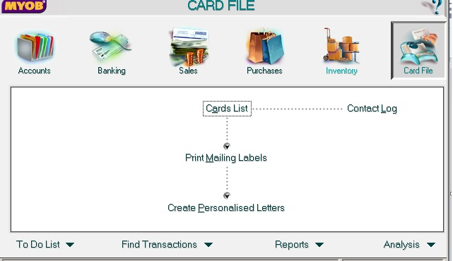MYOB Accounting Card File screen