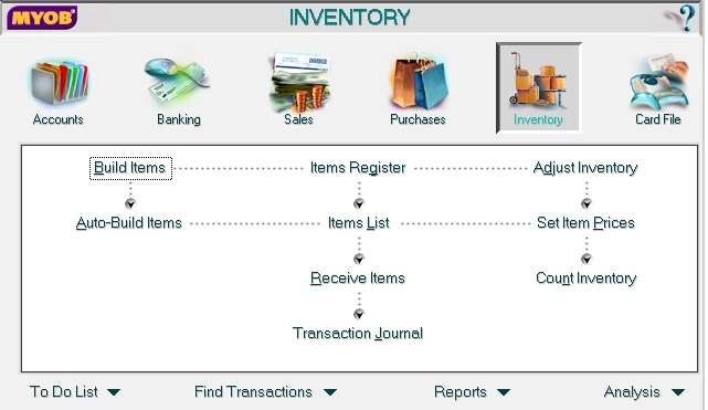 MYOB Accounting Inventory screen